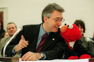 Non-monster Sesame Street colleague like Elmo spoke to Congress on Cookie Monster's behalf.