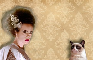Guess which one hissed at the other? Grumpy Cat and the Bride, July 27, 2013