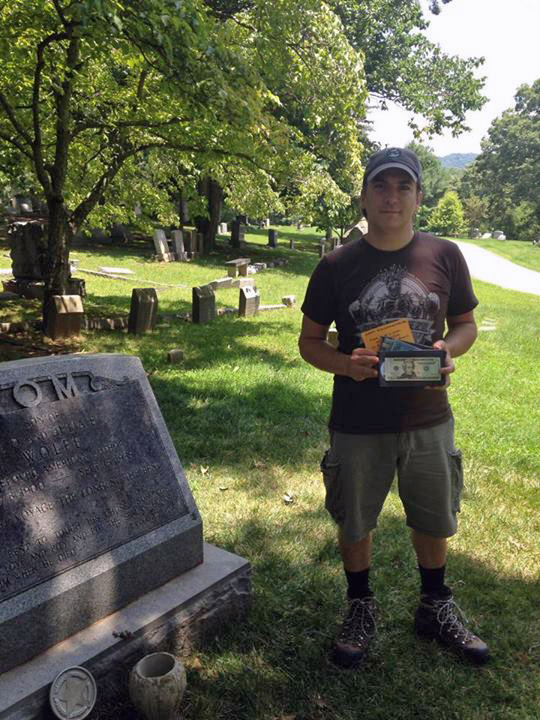 Winners Matt and Laura at the gravesite of Asheville author Thomas Wolfe.